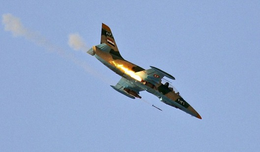 Syrian Air Force-firing-rocket