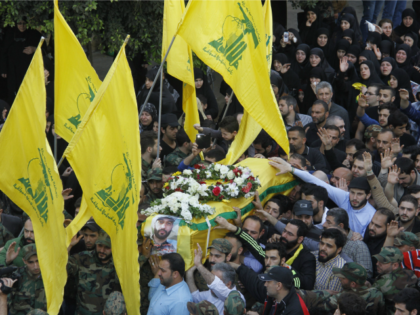 A funeral procession is held for top military commander of the Lebanese Resistance Movement, Hezbollah, Mustafa Badreddine, in the Lebanese capital, Beirut, May 13, 2016.