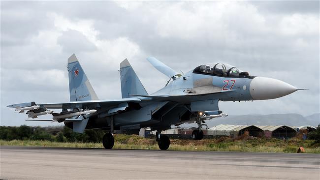 A Russian Sukhoi Su-35 bomber