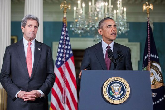 Barack Obama with Secretary of State John Kerry
