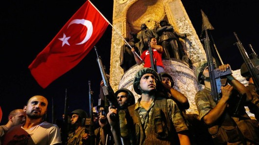 Turkish military stand guard near the the Taksim Square