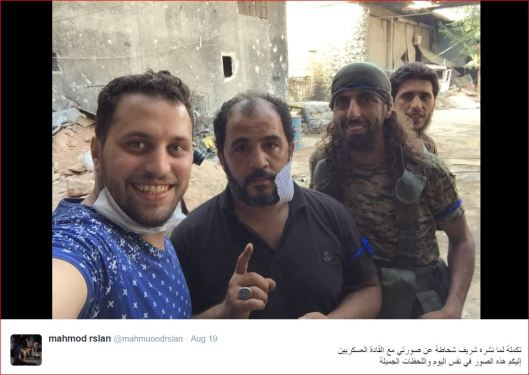 "Mahamoud Raslan with members of the ""Nour al-Din al-Zenki"" terrorist gang (supported by the USA's administration) responsible for the beheading of the 12-year-old Palestinian boy in Aleppo"