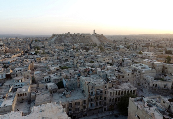 A general view taken with a drone shows the Old City of Aleppo and Aleppo's historic citadel, Syria October 12, 2016. REUTERS/Abdalrhman Ismail/File Photo - RTSV11Y