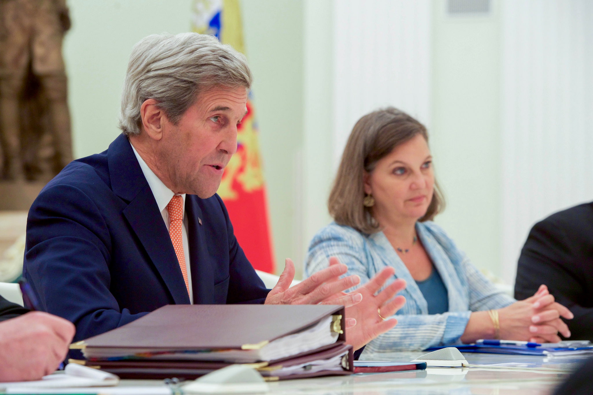 "Us Secretary Of State John Kerry, Flanked By Assistant Secretary Of State  For European And Eurasian Affairs Victoria €�toria"" Nuland, Addresses  Russian"