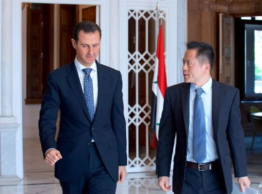 President Bashar al-Assad with journalist of Chinese PHOENIX TV