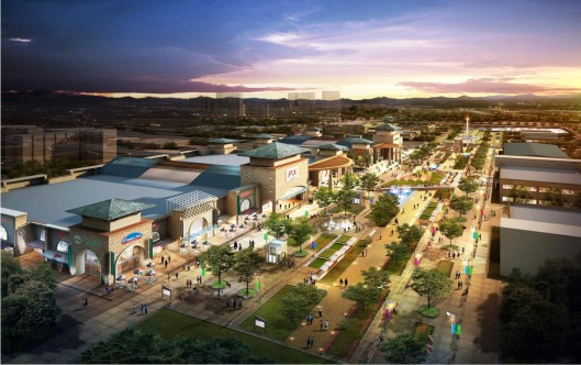 An artist's rendering of the new downtown area of U.S. Army Garrison Humphreys, South Korea, shows lots of family-friendly services and amenities.