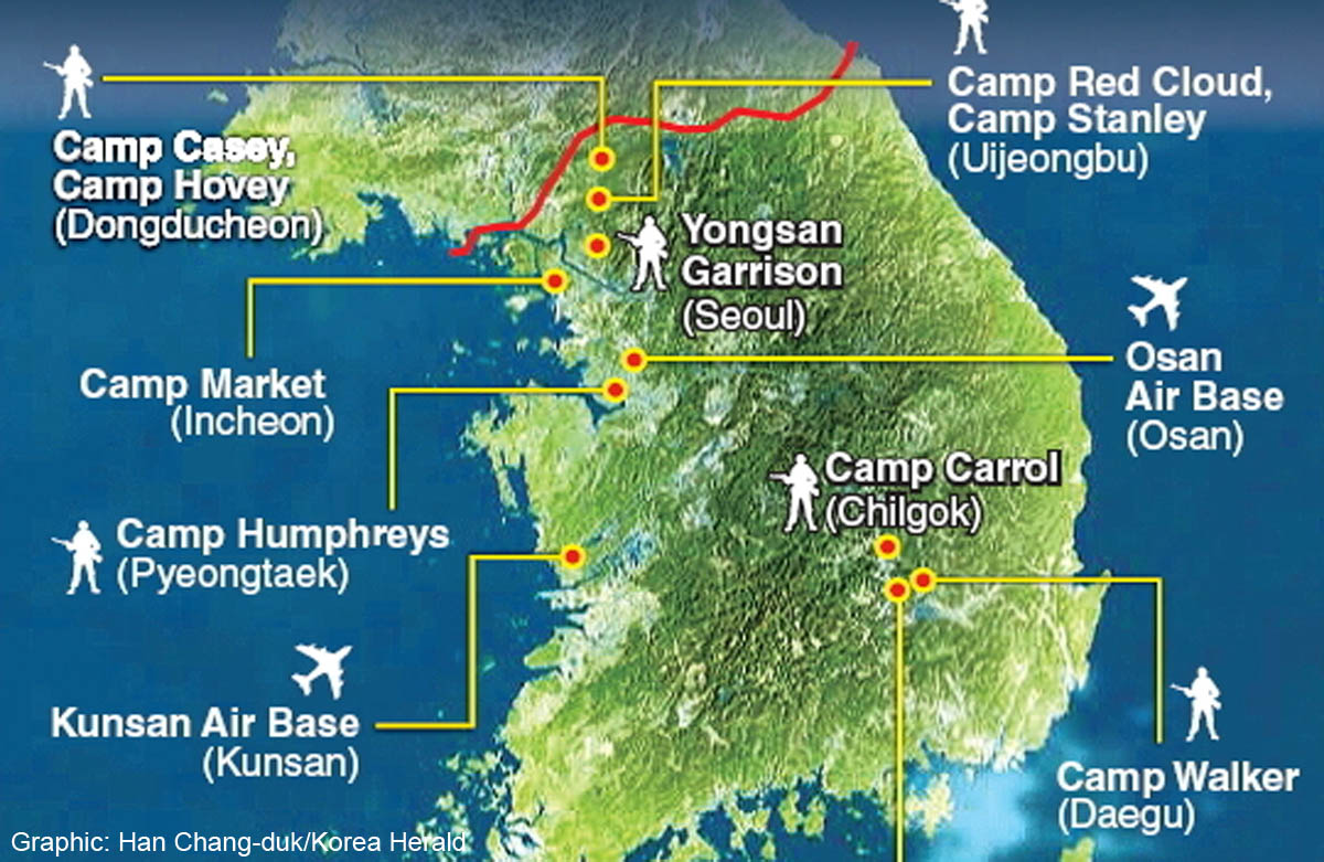 Close All US Military Bases On Foreign Soil The Real Syrian - Us military bases in south korea map