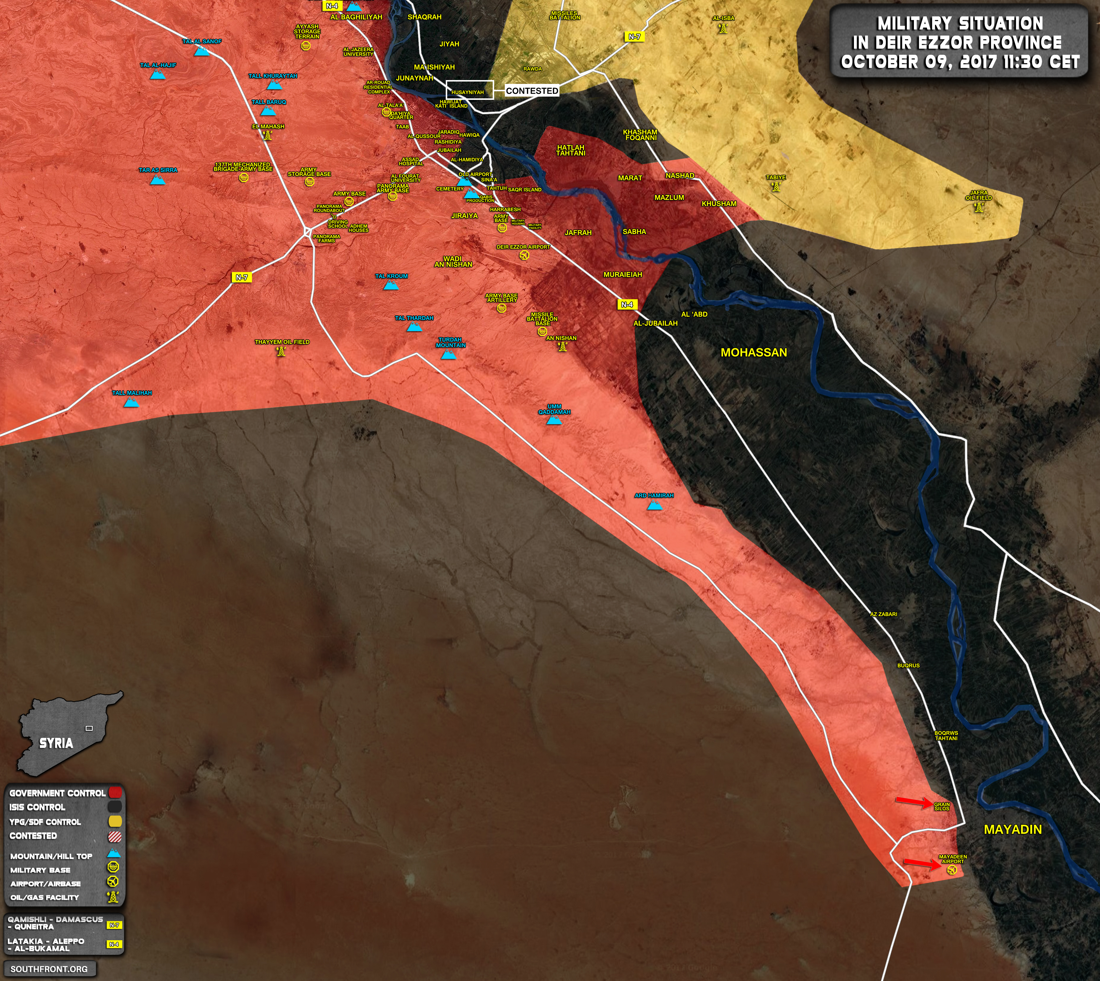 Military Situation in Area of Deir Ezzor on 9 October 2017 Map